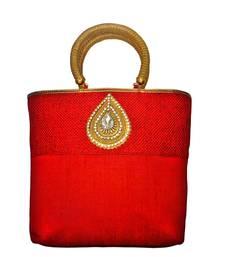 Buy Jute Raw Silk Combo Tilak Brooch handbag (Red) handbag online