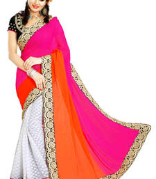 Buy Pink and orange embroidered georgette saree with blouse party-wear-saree online
