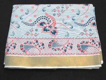Cotton Saree - Printed  - Zari Border - Casual Saree with blouse - riyaa - 902426 4