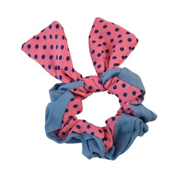 Polka Dot Pink Fabric Hair Rubber Band for Women