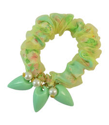 Buy Printed Green Fabric Hair Rubber Band for Women rubber-hair-band online