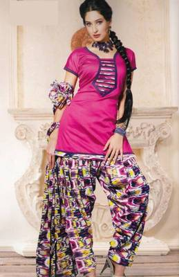 Dress material (printed) silk cotton with patiyala bottom unstitched d.no 209