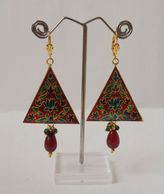 The Dangling Triangle-Red with Green drop