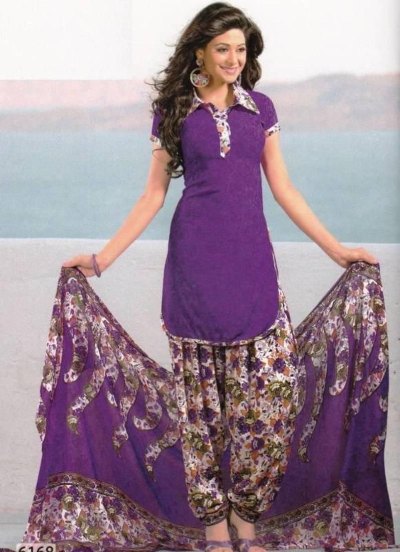 Buy Dress Material Crepe Unstitched Patiala Salwar Kameez