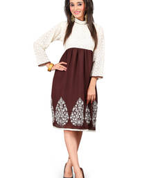 Buy Beige and Brown Embroidered Chiffon kurtas-and-kurtis chiffon-kurti online