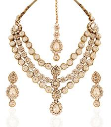 Buy Creative Gold plated Australian Diamond Stone  Necklace Set eid-jewellery online