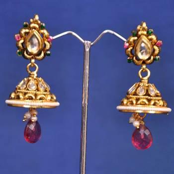 Golden Purple Fancy Jhumka Earring