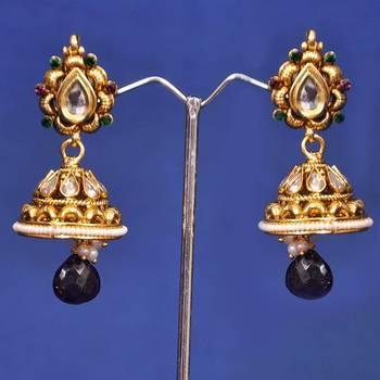 Golden White Fancy Jhumka Earring