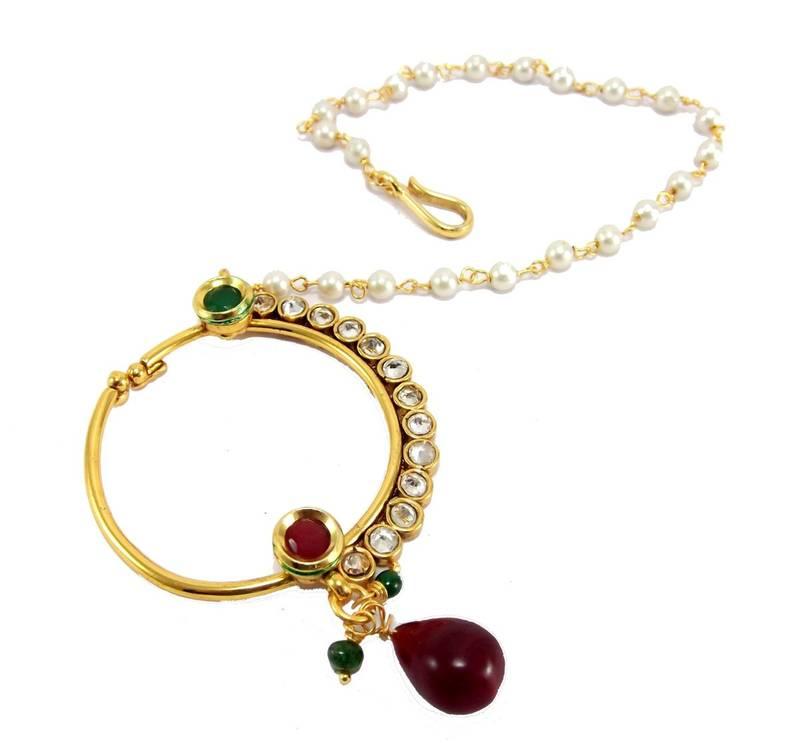 Buy Gold plated bridal kundan ruby polki nose ring nath with pearl ...