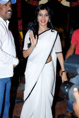 white and black saree