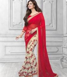 Buy red printed Georgette saree with blouse party-wear-saree online