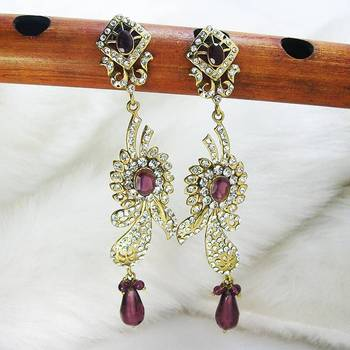 Victorian Leafy Danglers Maroon Violet Shady