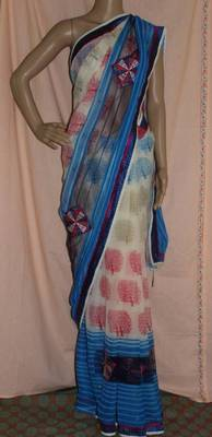 White and blue Printed crepe saree