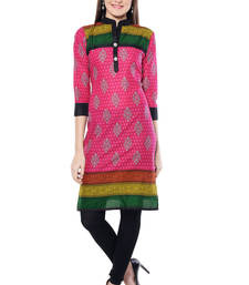 Buy Pink printed  Cotton  kurtas-and-kurtis long-kurti online