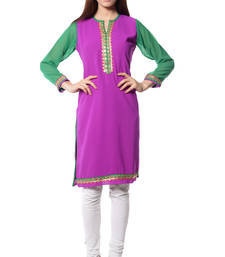 Buy Purple plain Georgette kurtas-and-kurtis long-kurti online
