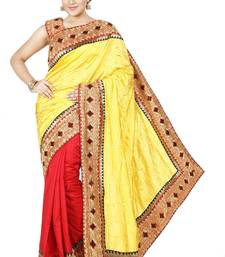Buy Yellow and Orange  embroidered silk saree with blouse half-saree online