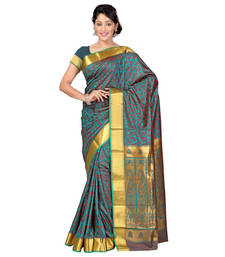 Buy Green and Brown woven art_silk saree with blouse party-wear-saree online