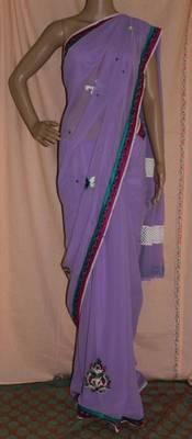 Lavender georgette saree with crochet border