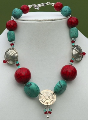 Red and Teal Choker.