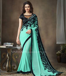 Buy Aqua Green embroidered georgette saree georgette-saree online