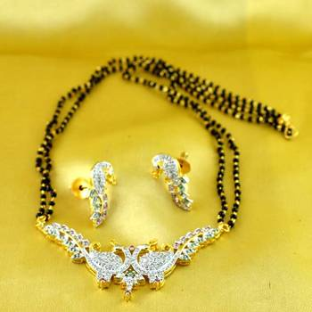mangalsutra pendants gold and silver platted stone cz ad polki meenakari kundun with earing size-18''inch