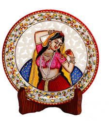 Buy Pure Marble Handpainted Jaali pattern Decorative  Plate home-decor online