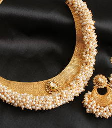 Buy Gorgeous designer antique pearl cluster necklace set necklace-set online