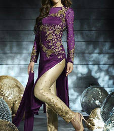 Buy Deep Purple embroidered net semi_stitched salwar with dupatta party-wear-salwar-kameez online