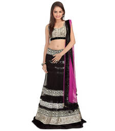 Buy Pink and Black embroidered Net and Georgette unstitched lehenga-choli lehenga-choli online