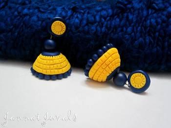 Yellow and Blue Jhumka