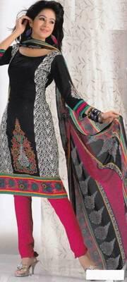 Crepe dress material elegant designer unstitched salwar suit d.no 8003