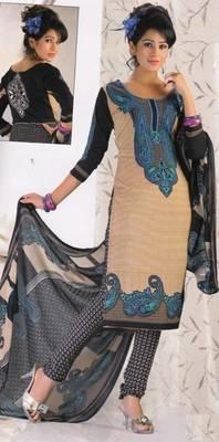 Crepe dress material elegant designer unstitched salwar suit d.no 8011