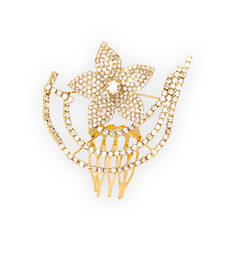 Buy Gold Tone Flower Shape Hair Comb Pin hair-accessory online