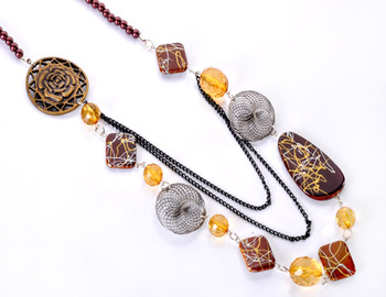 Brown Beads Fashion Necklace Set