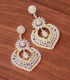 Buy Gold Cubic Zirconia danglers-drops punjabi-jewellery online