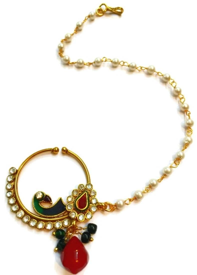 Buy Echanting Peacock Motiff Bridal Traditional Nose Ring