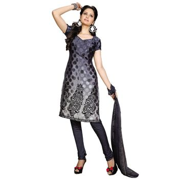 Fabdeal Navy Blue Colored Crepe Jacquard Party Wear Printed Dress Material