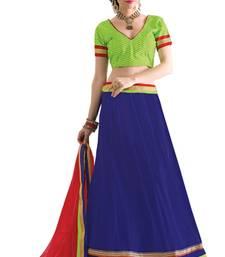 Buy Blue embroidered net unstitched lehenga-choli navratri-lehenga-chaniya-choli online