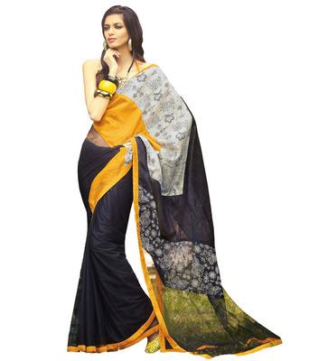 Black art dupion silk and net printed saree with blouse