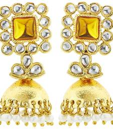 Buy Golden plated colored stone and moti drop earring fashion-deal online