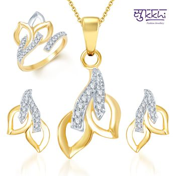 Sukkhi Beguilling Classy Gold and Rhodium Plated CZ pendants Set and Ring Combo