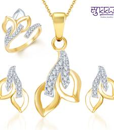 Buy Sukkhi Beguilling Classy Gold and Rhodium Plated CZ pendants Set and Ring Combo fashion-deal online