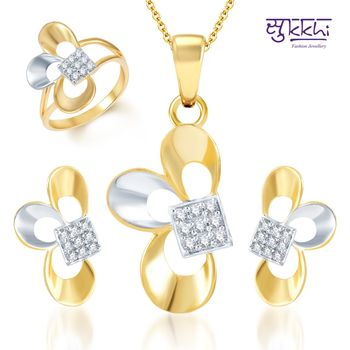 Sukkhi Fine Design Gold and Rhodium Plated CZ pendants Set and Ring Combo