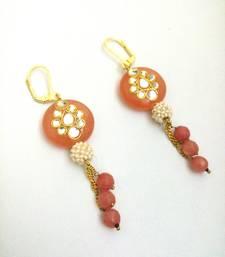 Buy peech white kundan work pearl earring hoop online