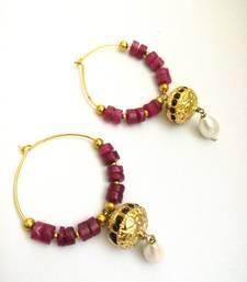 Buy maroon golden pearl bali earring hoop online