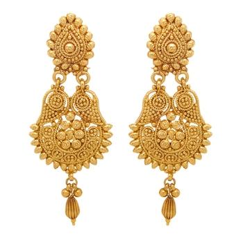 Traditional Ethnic Gold Plated Teardrop Dangler Earrings For Women