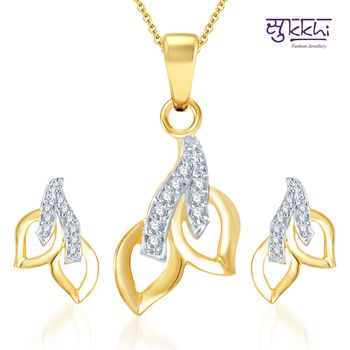 Sukkhi Glimmery Gold and Rhodium Plated CZ pendants Set