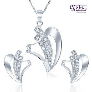 Sukkhi Fascinating Rodium plated CZ pendants Set