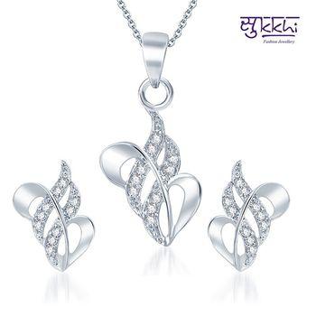 Sukkhi Pleasing Rodium plated CZ pendants Set