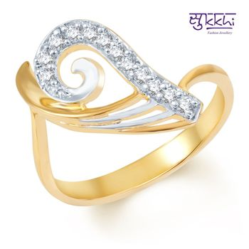 Sukkhi Eye-Catchy Gold and Rhodium Plated CZ Ring